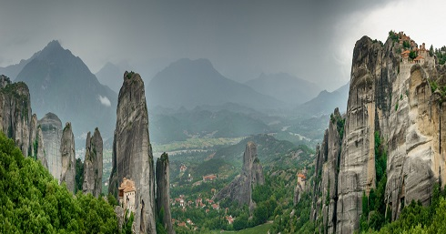 Panoramic view of the Meteora cliff